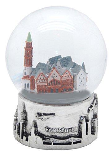 30049 Souvenir palla di neve Skyline di Francoforte argento base - 80 mm Schneekugelhaus
