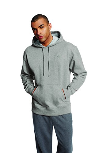 Champion Men's Powerblend Pullover Hoodie, Oxford Gray, Medium (Champion Logo Sweatpants)