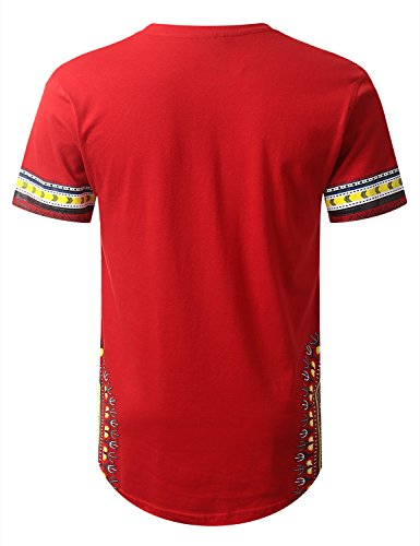 URBANCREWS Mens Hipster Hip Hop Dashiki Graphic Longline T-Shirt RED Medium by URBANCREWS (Image #2)