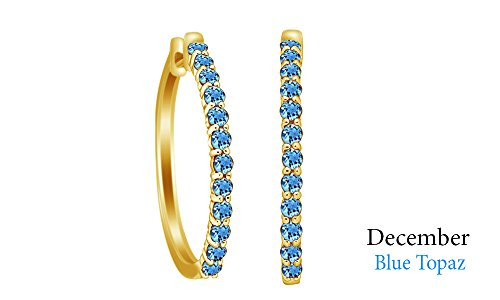 Jewel Zone US Round Cut Simulated Blue Topaz Elongated Hoop Earrings in 14k Yellow Gold Over Sterling ()