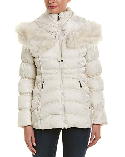 (Laundry by Shelli Segal Faux Fur Trim Short Puffer Hooded Jacket Coat New Pearl (S))