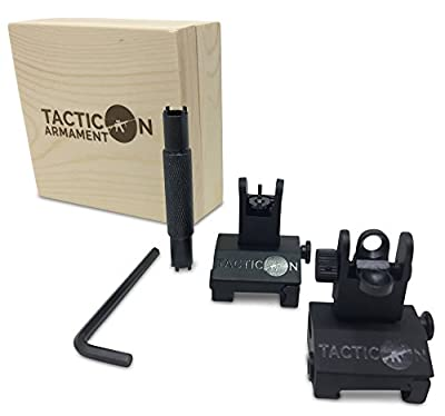 Tacticon Armament Flip Up Iron Sights for Rifle Includes Front Sight Adjustment Tool | Rapid Transition Backup Front and Rear Iron Sight BUIS Set Picatinny Rail and Weaver Rail