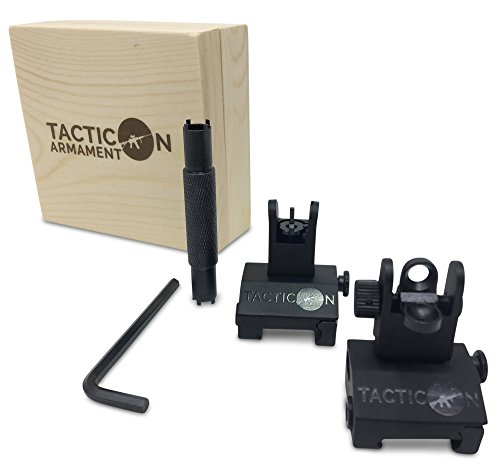 (Tacticon Armament Flip Up Iron Sights for Rifle Includes Front Sight Adjustment Tool | Rapid Transition Backup Front and Rear Iron Sight BUIS Set Picatinny Rail and Weaver Rail)
