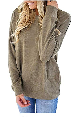 onlypuff Women's Casual Solid T-Shirt Batwing Long Sleeve Tunic Tops Round Neck Loose Comfy Pockets (Medium, ()