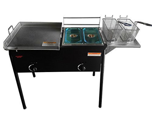 Bioexcel Outdoor two tank fryer with Propane Gas Dual Burner with 2 Baskets & Stainless Steel Griddle
