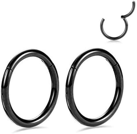 Pair Nose Ring Septum Clip Hoop Surgical Steel Hinged Segment Ring body piercing