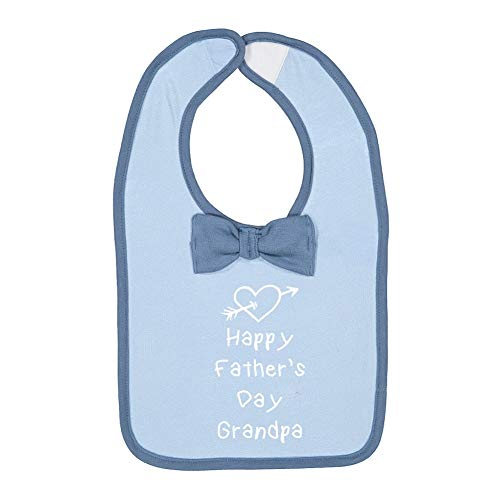 Happy Father's Day Grandpa (Heart and Arrow) Baby Cotton Bow Tie Baby Bib (Lt.Blue/Indigo)
