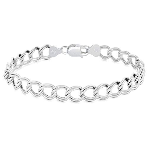 Sterling Silver 7MM & 8MM Double Link Charm Bracelet Anklet Light Weight Nickel Free (8MM- 8 Inch)