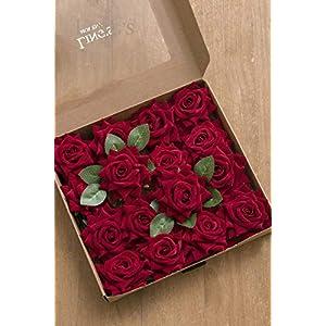 Ling's moment Artificial Velvet Roses Flowers 2