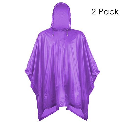 Helonge Rain Poncho, Waterproof Raincoat with Hoods, Multipurpose Raincoat for Outdoor, Camping and Emergency (Purple)]()