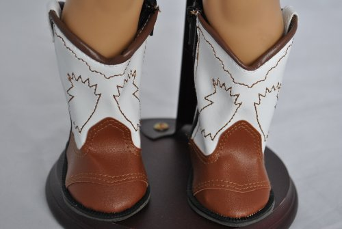BROWN & WHITE BOOTS - COWGIRL COWBOY Boots Fits American Girl Doll, 18 Inch Doll Boots -
