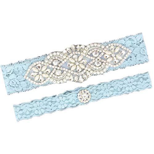 Belyee Bridal Wedding Accessory Blue Garter with Lace Rhinestones Leg Garter Set