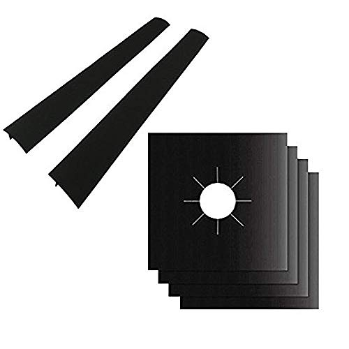 Burner Protector Liner Cover - 4 Pack Gas Range Protectors And 2 Silicone Stove Counter Gap Cover Burner Protector Liner Hob - Flex 2 Surface Head Electric Stove Stove Stove Stove 2 Protect