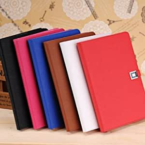 Luxury Wallet Style Card Holder Flip PU Leather Case For iPad Mini --- Color:Red
