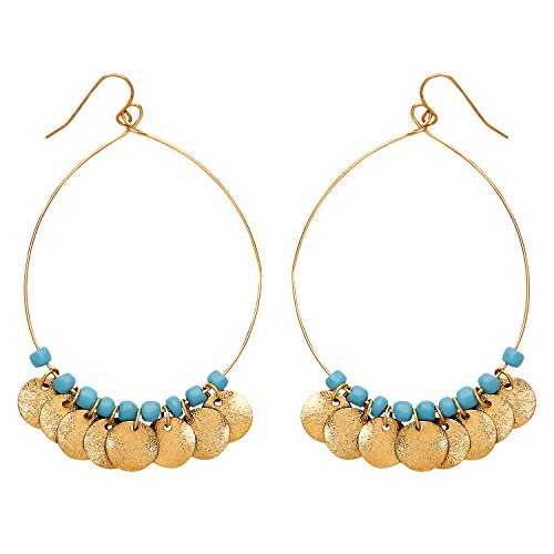 Front Row Gold Colour Turquoise Bead and Multi Disc Charm Hoop Drop Earrings