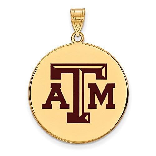 Sterling Silver w/ 14K Yellow Gold-Plated LogoArt Official Licensed Collegiate Texas A&M University (TAMU) XL Enamel Disc Pendant by LogoArt