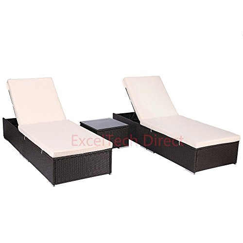 Do4U 3 Pcs Outdoor Patio Synthetic Adjustable Rattan Wicker Furniture Pool Chaise Lounge Chair Set with Table (Expresso-7003)