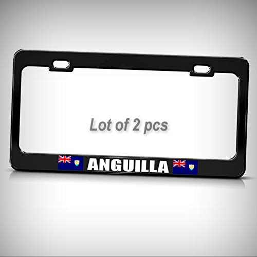 Anguilla Bar - Set of 2 Pcs - Anguilla Flag Chrome Heavy Duty Steel Tag Holder License Plate Frame Decorative Border
