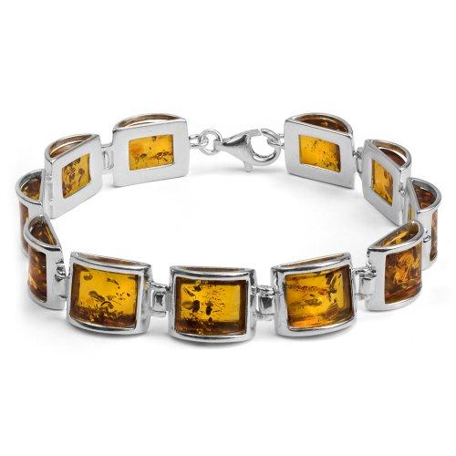 Sterling Silver Baltic Amber Rectangular Bracelet Length 7.5 (Sterling Silver Amber Gemstone Bracelet)
