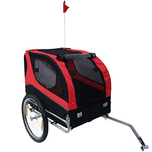 Anself Red Pet Dog Bicycle Trailer with Swivel Wheel by Anself
