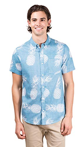 (Brooklyn Athletics Men's Hawaiian Aloha Shirt Vintage Casual Button Down Tee, Turquoise Pineapple, Large)