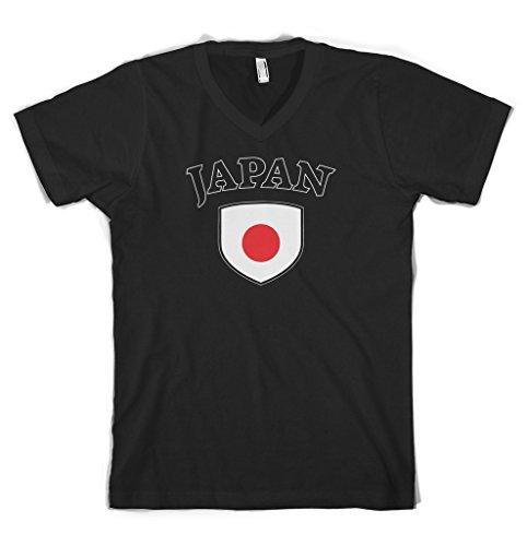 Cybertela Japan Flag Crest Men's V-neck T-shirt (Black, 2X-Large)