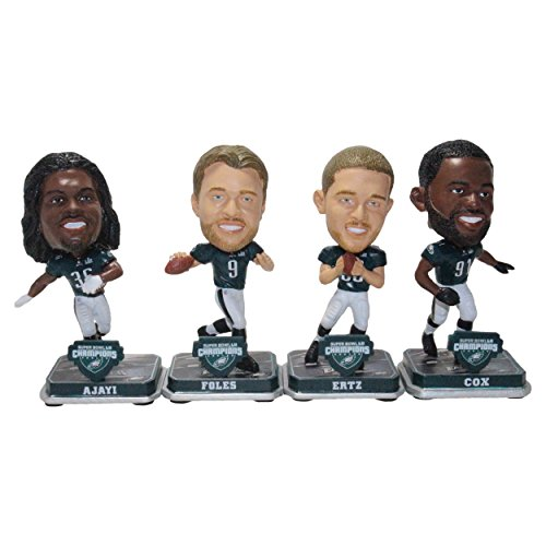 Forever Collectibles NFL Philadelphia Eagles Mens Philadelphia Eagles Bobble Mini Bighead 4 Pack (Foles Ajayi Ertz Cox) Super Bowl 52 Champs Special Order, Team Colors One Size -