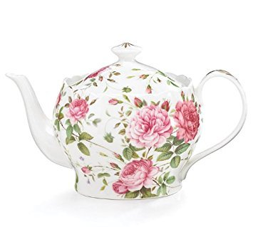 Saddlebrooke Porcelain Pink Rose Teapot With Gold Accents