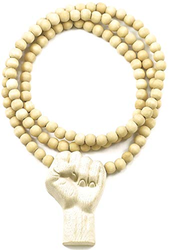 GWOOD Power Fist All Natural Wood Pendant Necklace (MAPLE/ 36 INCH NECKLACE)