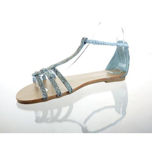 Kickly–Schuh Modus Sandale Tong Stepptanz Knöchel Frauen Haut-Schlange Ferse Block 1cm–innen Leder–Blau/Gold