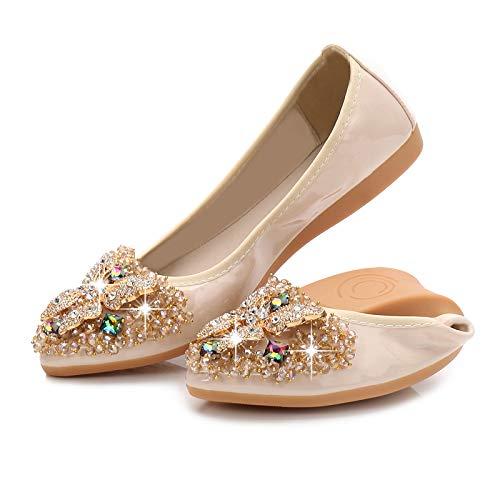 FLYRCX Zapatos Plegables en su Bolso Damas Zapatos de Ballet Puntiagudos Boca Baja Rhinestones Zapatos Planos Suaves y cómodos Zapatos de Las Mujeres Embarazadas Zapatos de Trabajo B