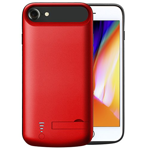 iPhone 7 Battery case, Cofuture 5500mAh potential Bank convenient Extended Battery Charger Protective Charging condition assist Lightning Headphone, Sync as a result of together with Pop-Out Kickstand (iPhone 7 8 Red)