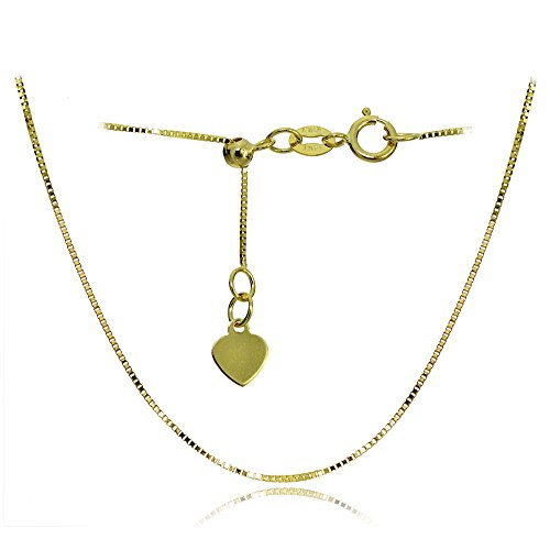 Bria Lou 14k Yellow Gold .6mm Italian Box Adjustable Chain Necklace, 14-20 Inches by Bria Lou