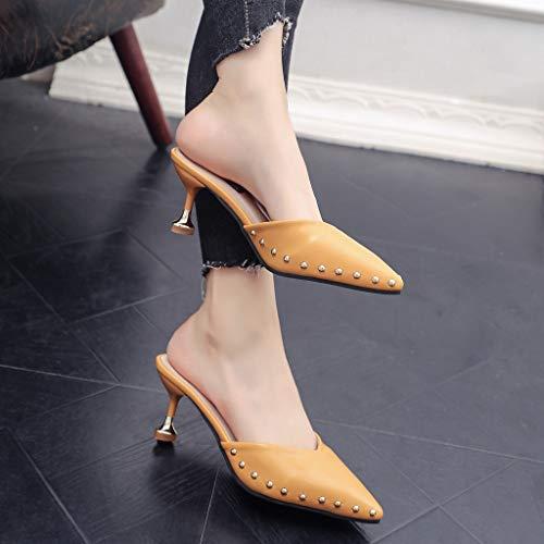 Sandali Donne Stiletto sandali Appuntito Donna Indossando Pantofole Somesun Moda Baotou Da Singole Estate Giallo Scarpe IqtnAwY