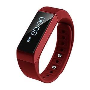 COOSA OLED elegante pulsera Bluetooth 4.0 podómetro de seguimiento de calorías Salud Muñequera sueño monitor (Rojo)