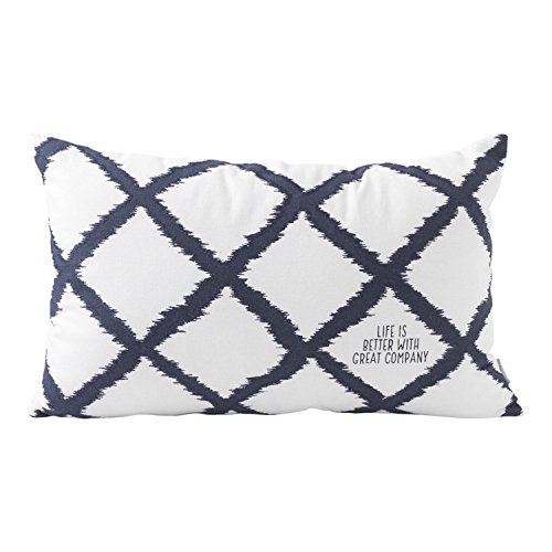 "Hallmark Home Decorative Throw Pillow with Insert (20x12 inch) ""Great Company"" White and Navy Lattice"