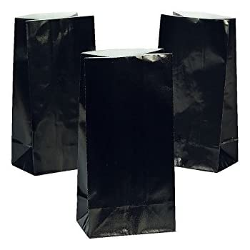Fun Express - Black Paper Bags for Party - Party Supplies - Bags - Paper Treat Bags - Party - 12 Pieces