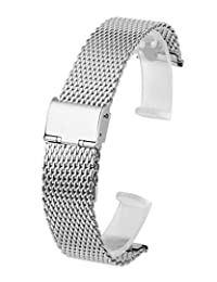 Top Plaza 22mm Stainless Steel Bracelet Wrist Watch Band Replacement Thick Mesh Metal Strap With Hook Clasp