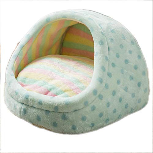 LINDA-Grocery-Store Home Shape Pet House Cute Slipper Dog Bed Cat Nest Washable Dogs Basket Kennel for Puppy Dogs Cats,Blue Dots,42x40x30cm