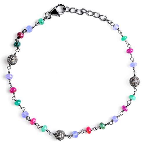Sterling Silver Bracelet For Women | Multi Birthstone Bracelet | 12.7 Carat Multi Color Diamond & Multi Gemstone Engagement Bracelet by Orchid Jewelry | Simple. Beautiful. Affordable.