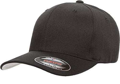 Flexfit/Yupoong Men's Wool Blend Athletic Baseball Fitted Cap, Black, Small/Medium