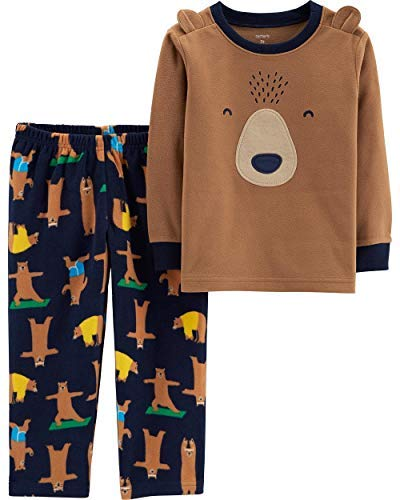 (Carter's Baby Boys' 2-Piece Fleece Pajamas (Brown/Bear, 18M) )