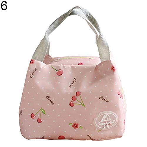 SuBoZhuLiuJ Stripe Dot Butterfly Insulated Lunch Bag Thermal Picnic Carry Case with Handle - Pink ()