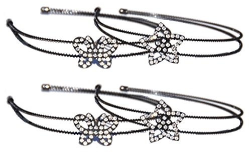 [Rhinestone Metal Headband Set of 4 Stars Butterfly for Wife Women Girl Teens Young Girls Sister in Law] (Butterfly Tween Costumes)
