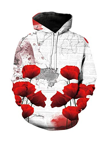 Unisex 3D Novelty Hoodies Hoodies Sweatshirt Pockets Retro Wall Poppy Flowers Vivid Petals