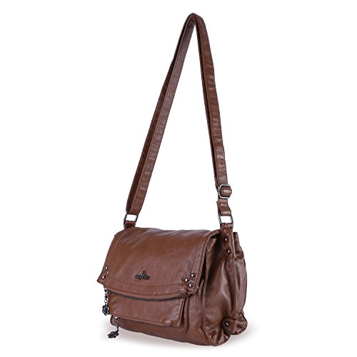 Shoulder Top Satchel Large Handbag Angelkiss Women's Brown Bag Purse Crocodile Handle wRq4WTnZ
