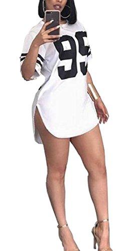Del Donne Sottile Dell'anca Jaycargogo Corta Bianco Abiti Della Delle Floreale Stampa Pacchetto Spaccato Mini Manica Sexy 6HqgP