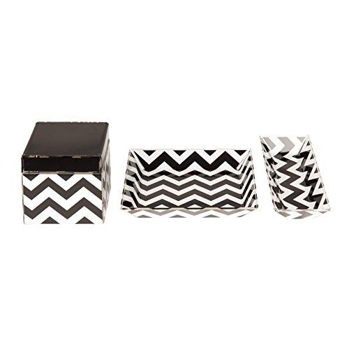 Kate and Laurel Luxe Chevron 3 Piece Acrylic Desk Organizer Set, Black and White (Chevron Office Supplies)