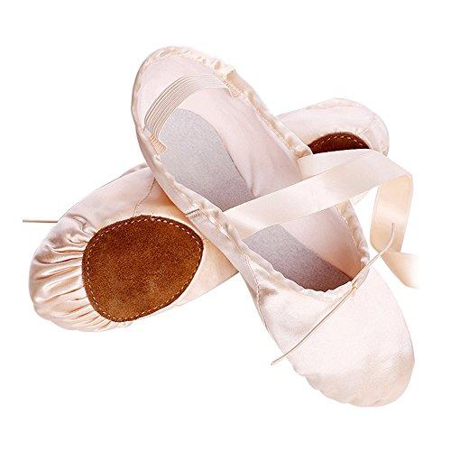 s.lemon Rosa Satin Ballettschuhe Ballettschläppchen Tanzschuhe, Geteilte Ledersohle