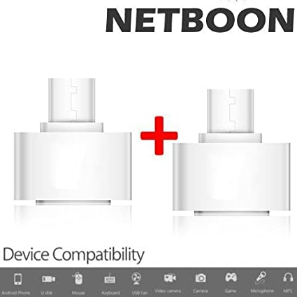 Netboon 2PCs OTG Adapter Micro USB To USB 2.0 Converter For Android Smartphone And Tablet   Black Mobile Phone Data Cables